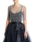 Elbow-Sleeve Crystal & Floral Illusion Tulle Lattice Top