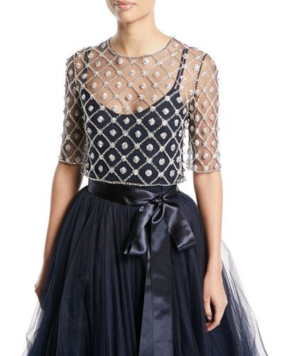 Elbow-Sleeve Crystal & Floral Illusion Tulle Lattice Top