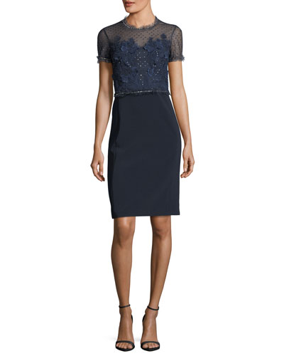 Round-Neck Short-Sleeve Lace Cocktail Dress