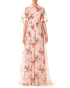 Floral-Embroidered Button-Front Short-Sleeve Evening Gown