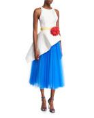 Carolina Herrera Sleeveless Mikado & Tulle Asymmetrical Midi