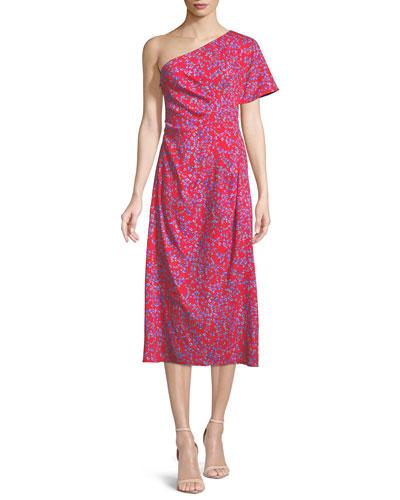 One-Shoulder Floral-Print Textured Silk Dress