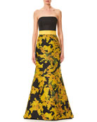 Strapless Mimosa-Flower Print Trumpet Evening Gown