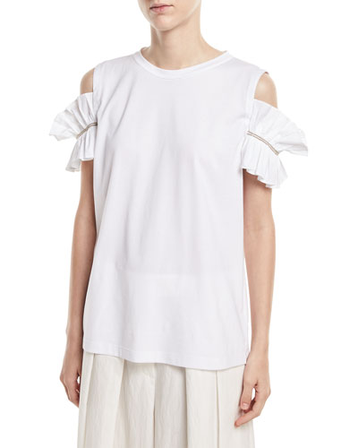 Crewneck Cold-Shoulder Cotton Tee with Poplin Ruffle