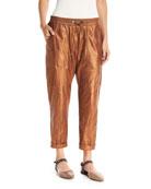Metallic Leather Cropped Utility Pants