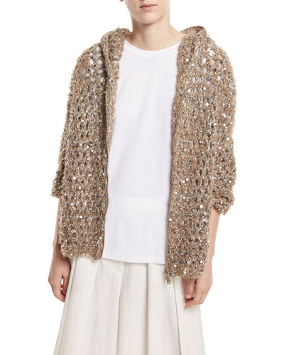 Zip-Front Hooded Jacket with Paillette Embellishments