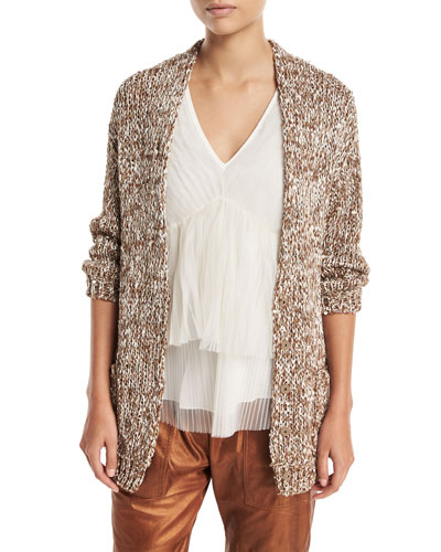Waxed Tweed Open-Front Cardigan with Clear Paillettes