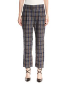 Prince of Wales Check Straight-Leg Linen Pants with Paillettes