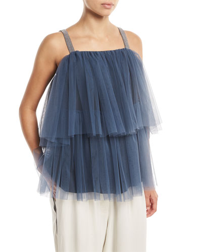 Tiered Pleated Tulle Top with Monili Straps