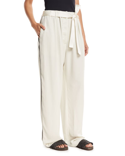 Wide-Leg Belted Pants with Monili Track Stripes