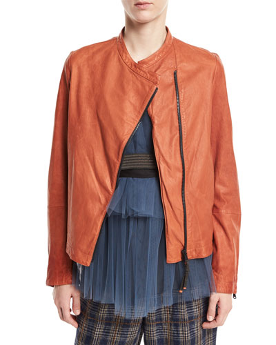 Collarless Asymmetric-Zip Lamb Leather Jacket