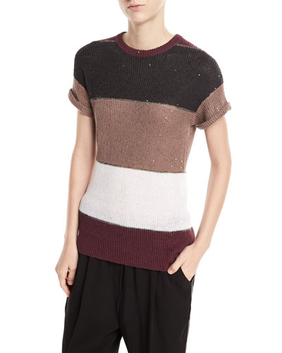 Crewneck Short-Sleeve Rugby-Stripe Pullover Top