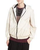 Zip-Front Leather and Suede Hooded Jacket