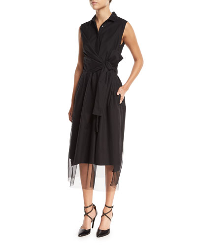 Sleeveless Tulle Cross-Front Midi Dress