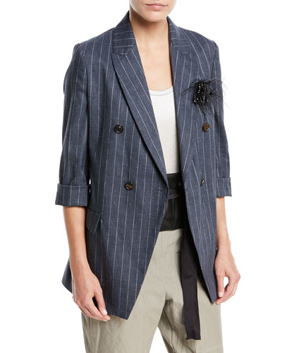 Linen-Blend Pinstripe Double-Breasted Blazer