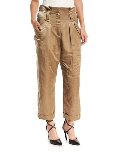Linen-Satin Straight-Leg Cargo Pants