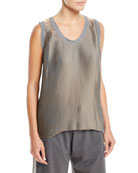 Scoop-Neck Lamé Pleated Tank Top with Knit Trim
