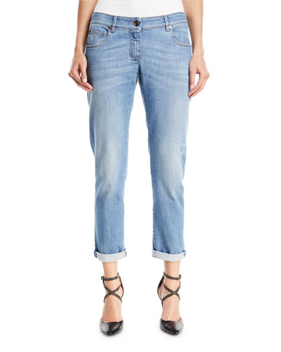 Distressed Straight-Leg Denim Jeans w/Rolled Hem