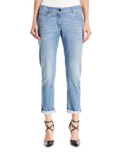 Distressed Straight-Leg Denim Jeans w/Rolled Hem