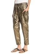Brunello Cucinelli Metallic Leather Ankle Jogger Pants