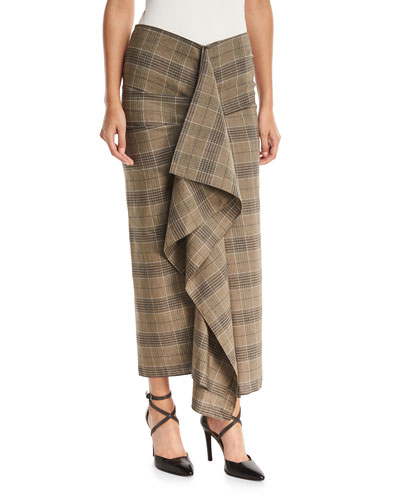 Prince of Wales Check Large Ruffle Fitted Skirt