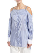 Off-the-Shoulder Striped Long-Sleeve Tunic with Monili Straps