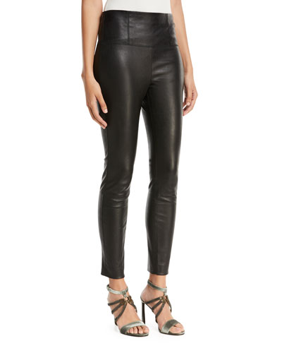 High-Waist Side-Zip Lamb Leather Leggings