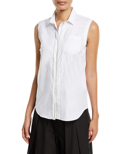 Sleeveless Poplin Blouse with Monili Trim