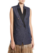 Peak Lapel Double-Breasted Denim Vest