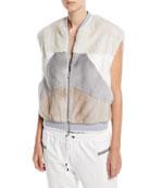 Brunello Cucinelli Mink-Fur Geometric Vest and Matching Items