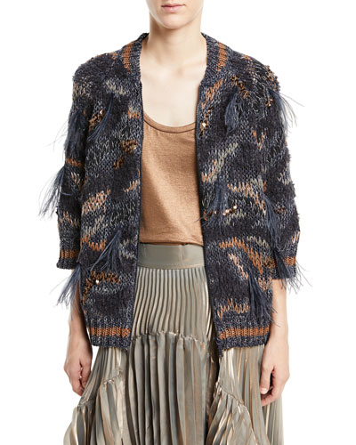 Waxed Cotton-Linen Zip-Up Cardigan with Feather Trim