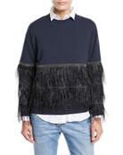 Brunello Cucinelli Crewneck Long-Sleeve Pullover Sweatshirt with