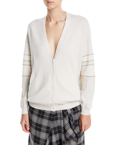 Deep-V Button-Front 2-Ply Cashmere Cardigan