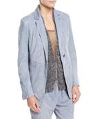 Suede One-Button Blazer Jacket