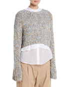 Hand-Knit Waxed Tweed Cropped Pullover Sweater
