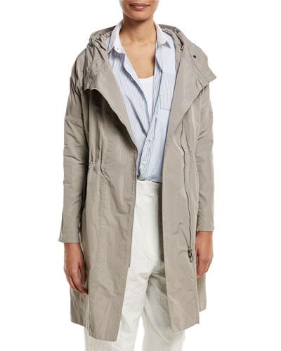 Taffeta Mid-Length Coat w/ Cinched Waist