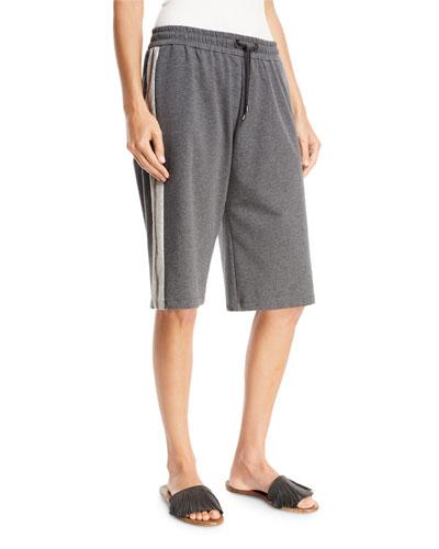 Felpa Pull-On Bermuda Shorts with Metallic Stripe
