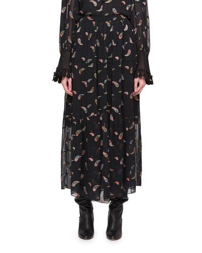 Paisley Lurex Jacquard Long Chiffon Skirt