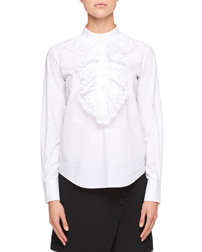 Mock-Neck Long-Sleeve Poplin Shirt with Ruffled Trim