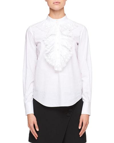 Mock-Neck Long-Sleeve Poplin Shirt with Ruffled Trim