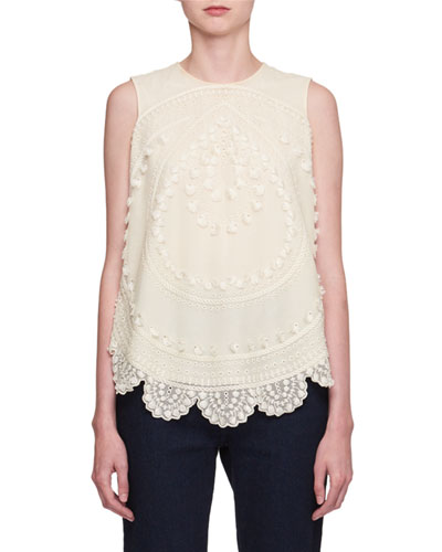 Embroidered Tulle Sleeveless Top