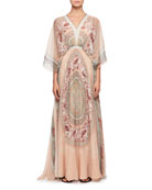 Mandala-Print V-Neck Kaftan Evening Gown