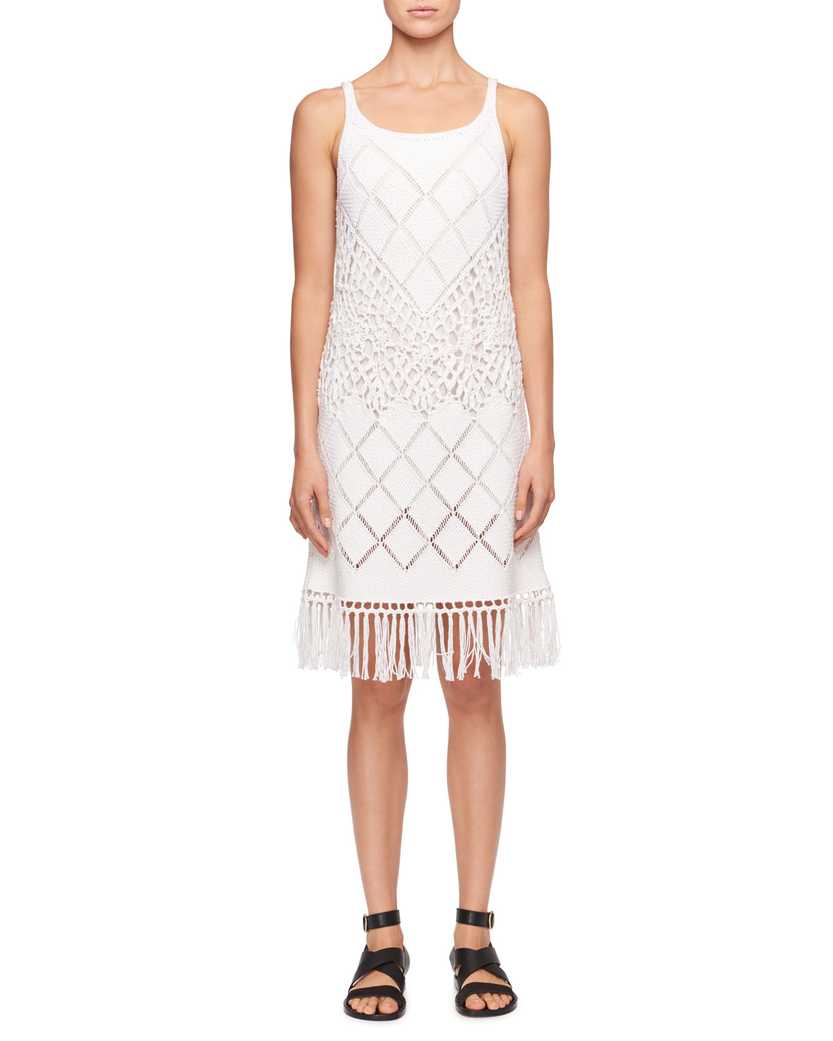 Sleeveless Scoop-Neck Crochet-Knit Dress with Fringe-Hem