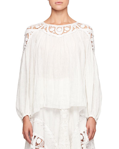 Long-Sleeve Linen Cheesecloth Top w/ Lace Guipure