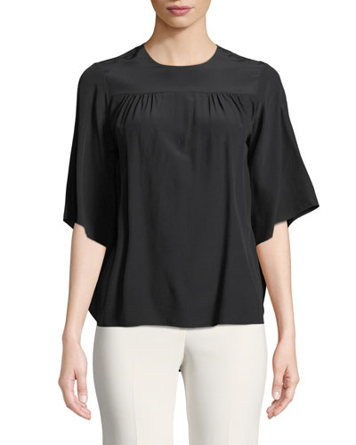 Short-Sleeve Cape-Back Crepe de Chine Blouse