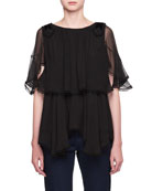 Round-Neck Elbow-Sleeve Silk Crepon Ruffled Blouse