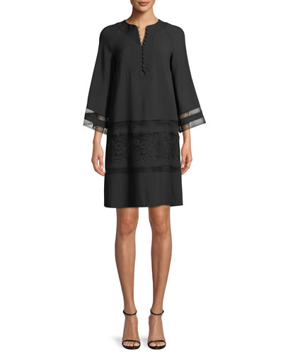 Bell-Sleeve Light-Cady Dress with Lace Insets