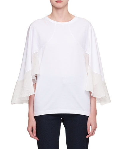 Crewneck Cape-Sleeve Jersey T-Shirt