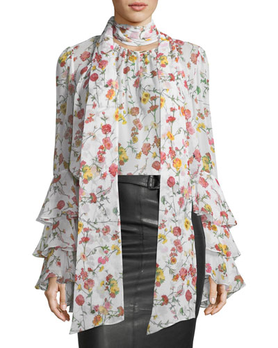 Scarf-Neck Long-Sleeve Floral-Print Silk Blouse