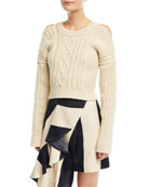 Cold-Shoulder Cable-Knit Racerback Sweater